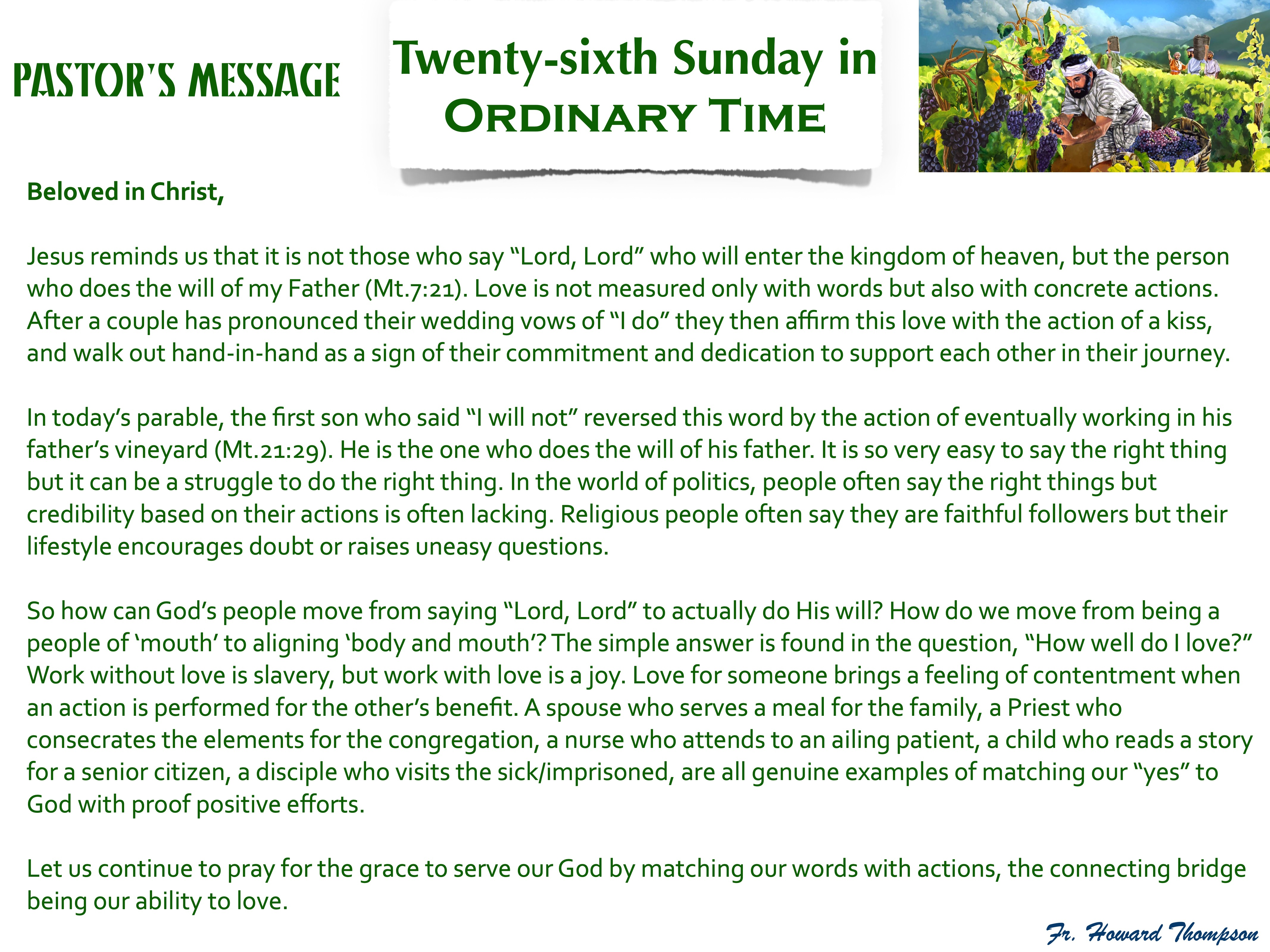 Pastor's Message - 132 Twenty-sixth Sund