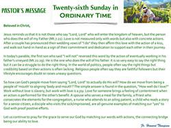 Pastor's Message - 132 Twenty-sixth Sund