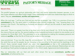 Pastor's Message - 27 Twenty-first Sunda
