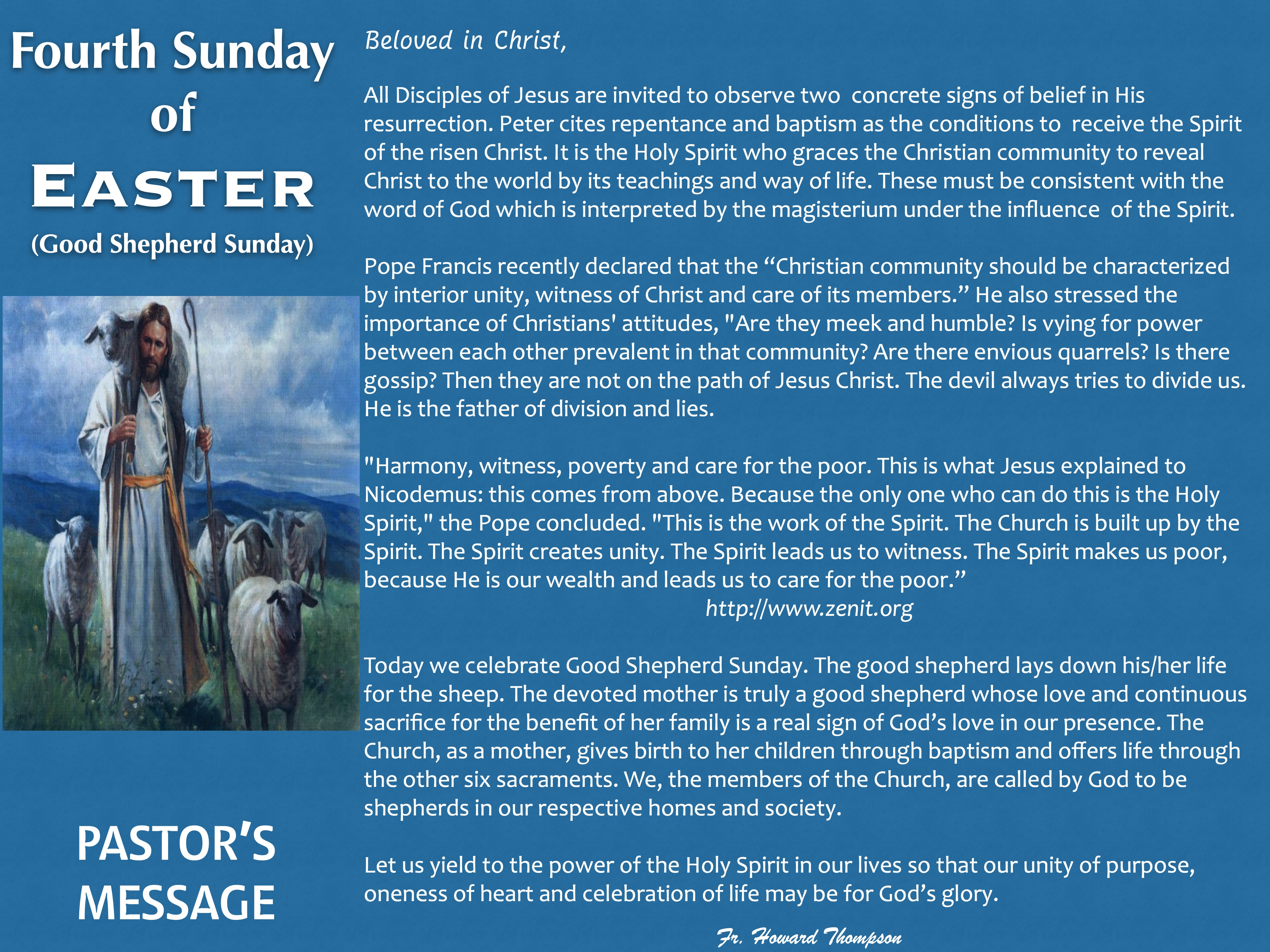 Pastor's Message - 111 Fourth Sunday of
