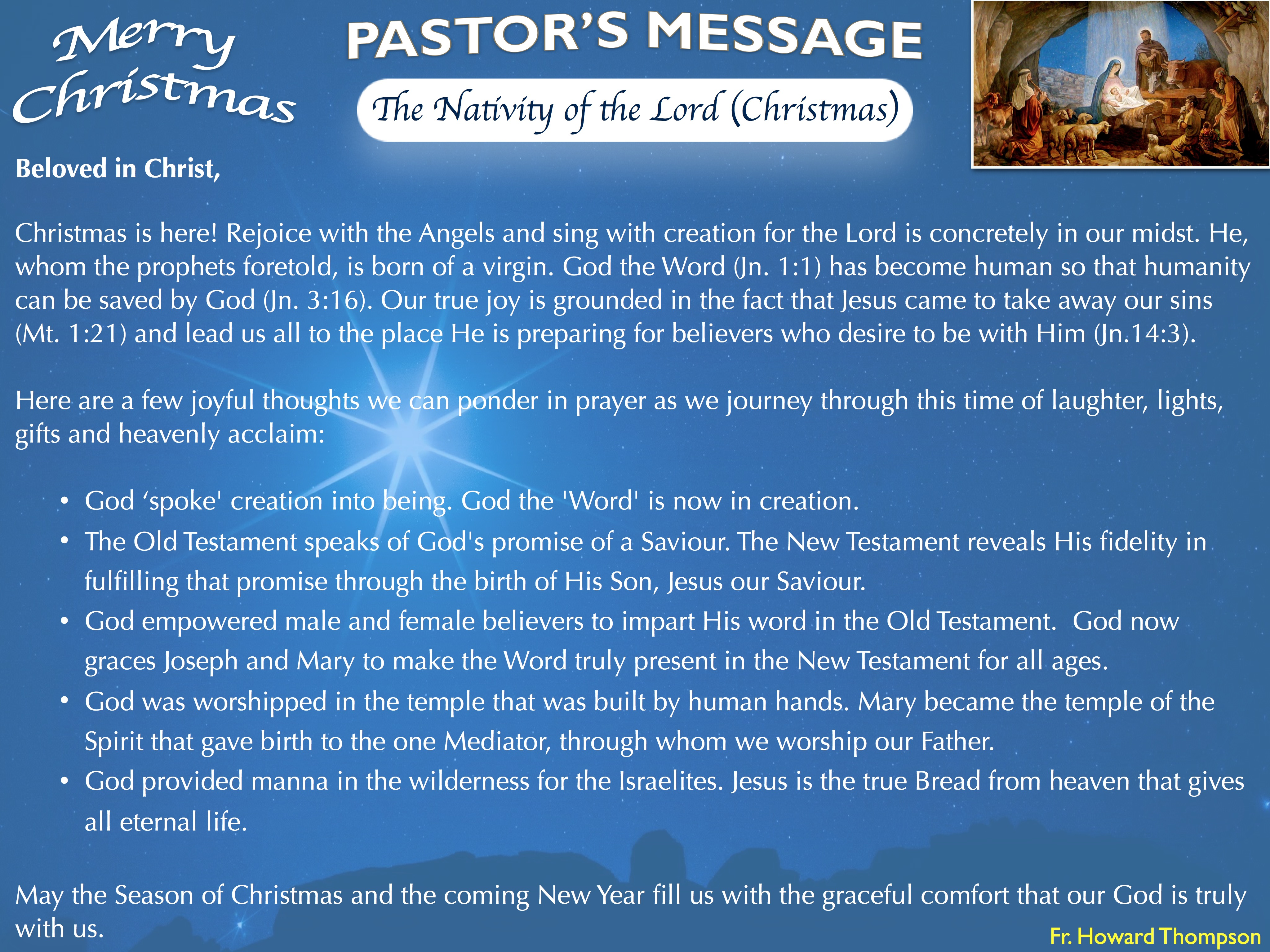 Pastor's Message - Christmas Day