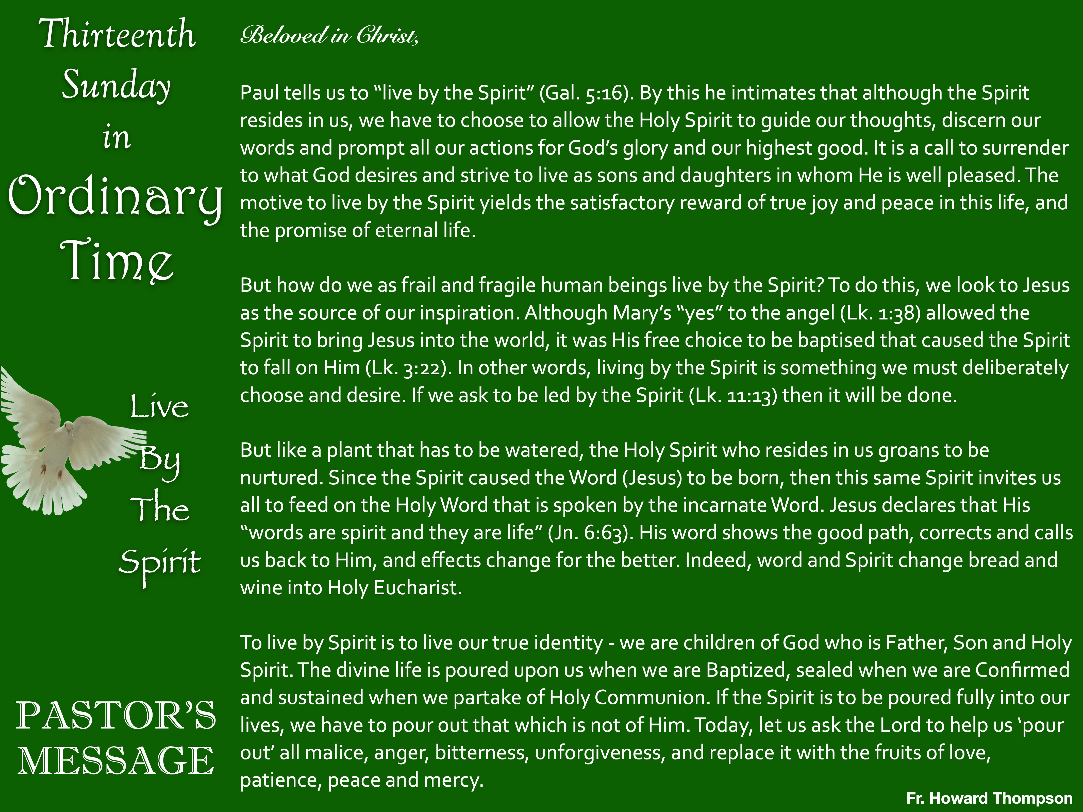 Pastor's Message - 70 Thirteenth Sunday