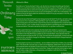 Pastor's Message - 70 Thirteenth Sunday