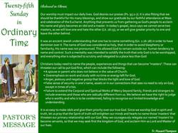 Pastor's Message - 82 Twenty-fifth Sunda