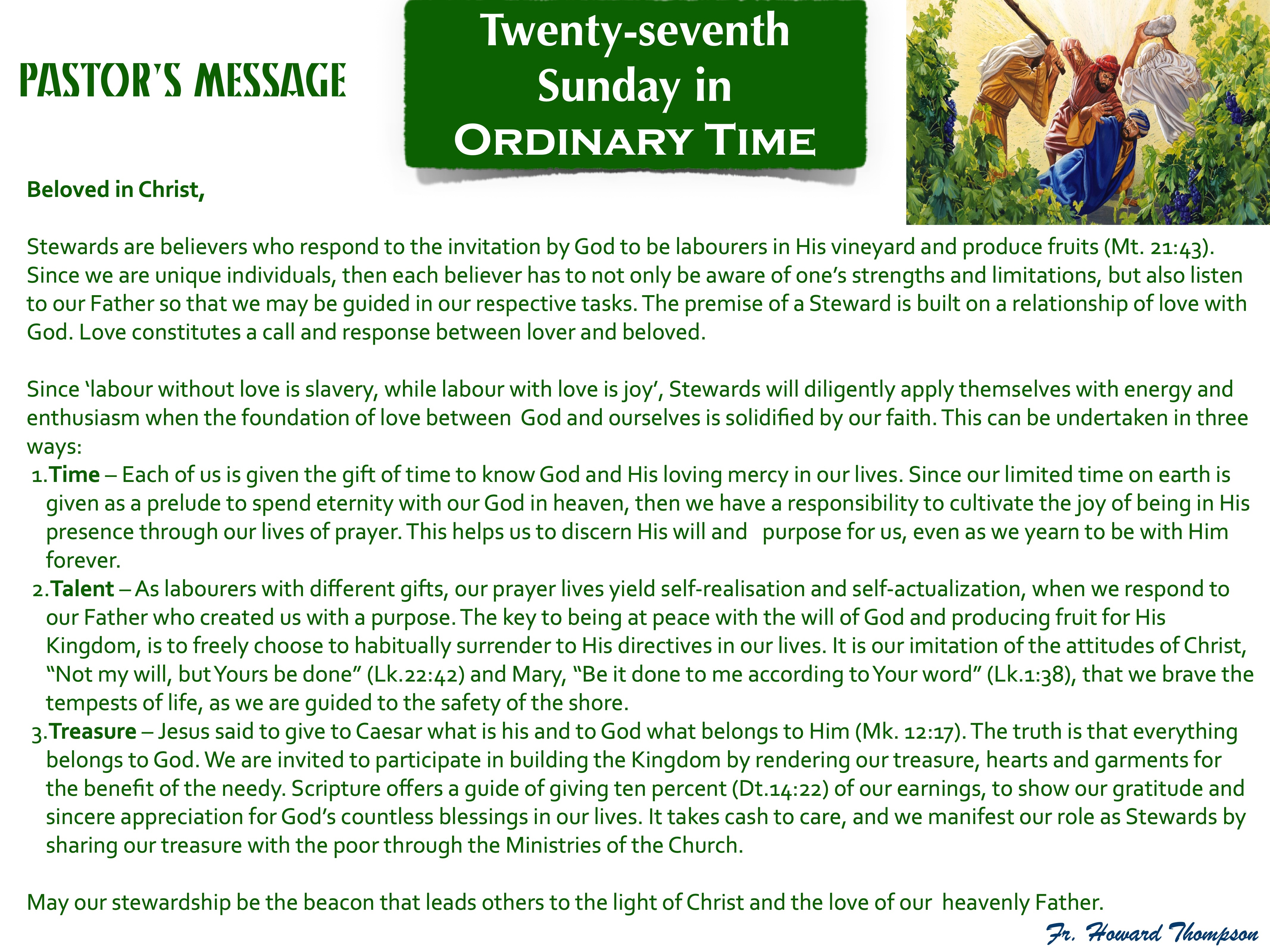 Pastor's Message - 133 Twenty-seventh Su