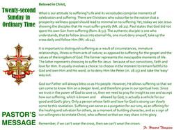 Pastor's Message - 128 Twenty-second Sun