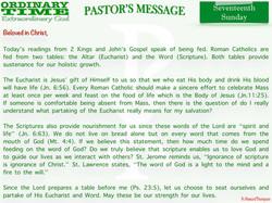 Pastor's Message - 26 Seventeenth Sunday
