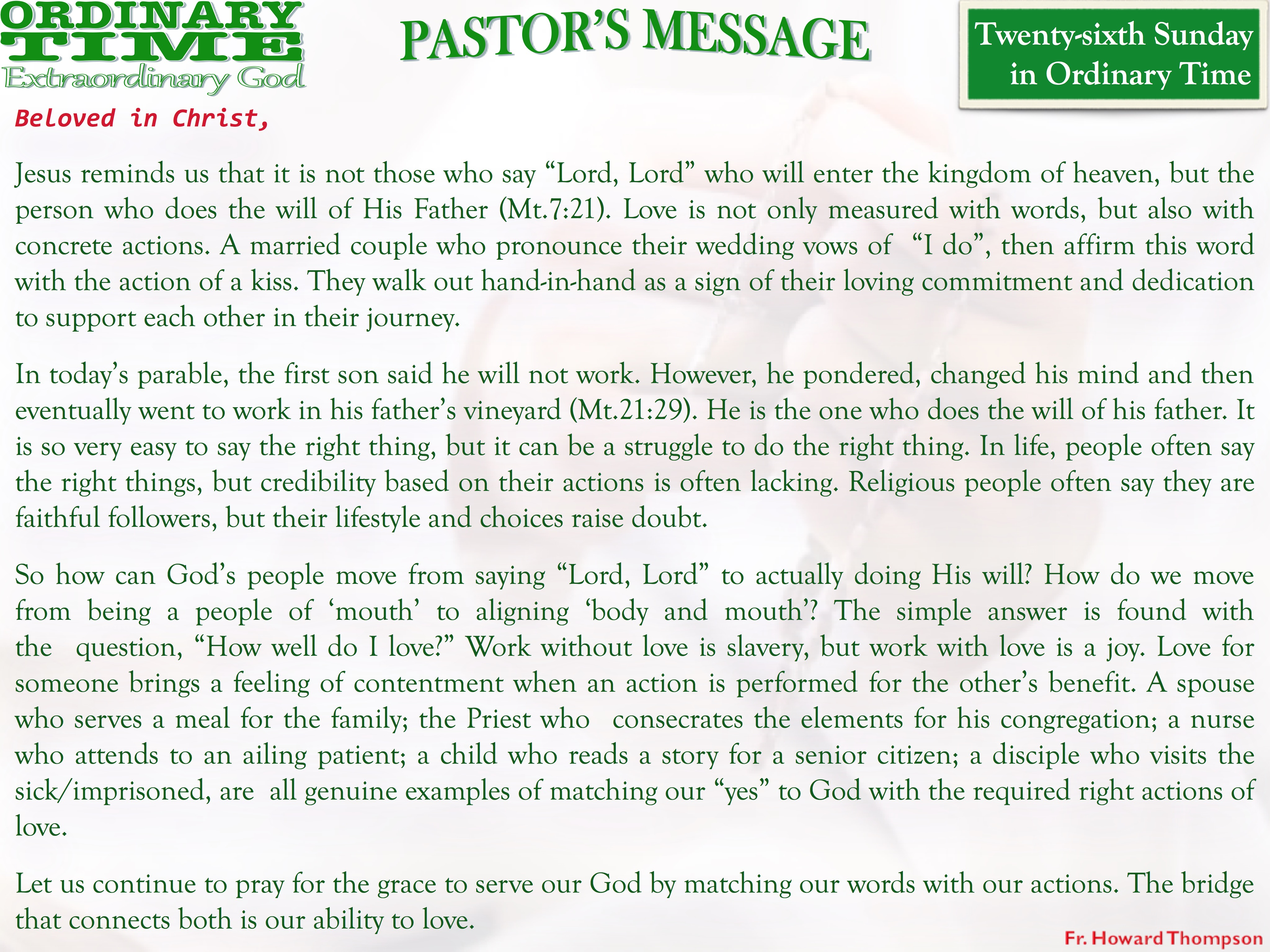 Pastor's Message - 30 Twenty-sixth Sunday in Ordinary Time