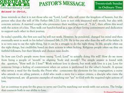 Pastor's Message - 30 Twenty-sixth Sunday in Ordinary Time