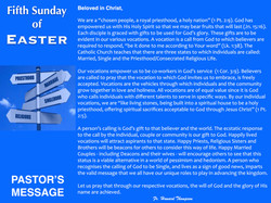 Pastor's Message - 112 Fifth Sunday of E