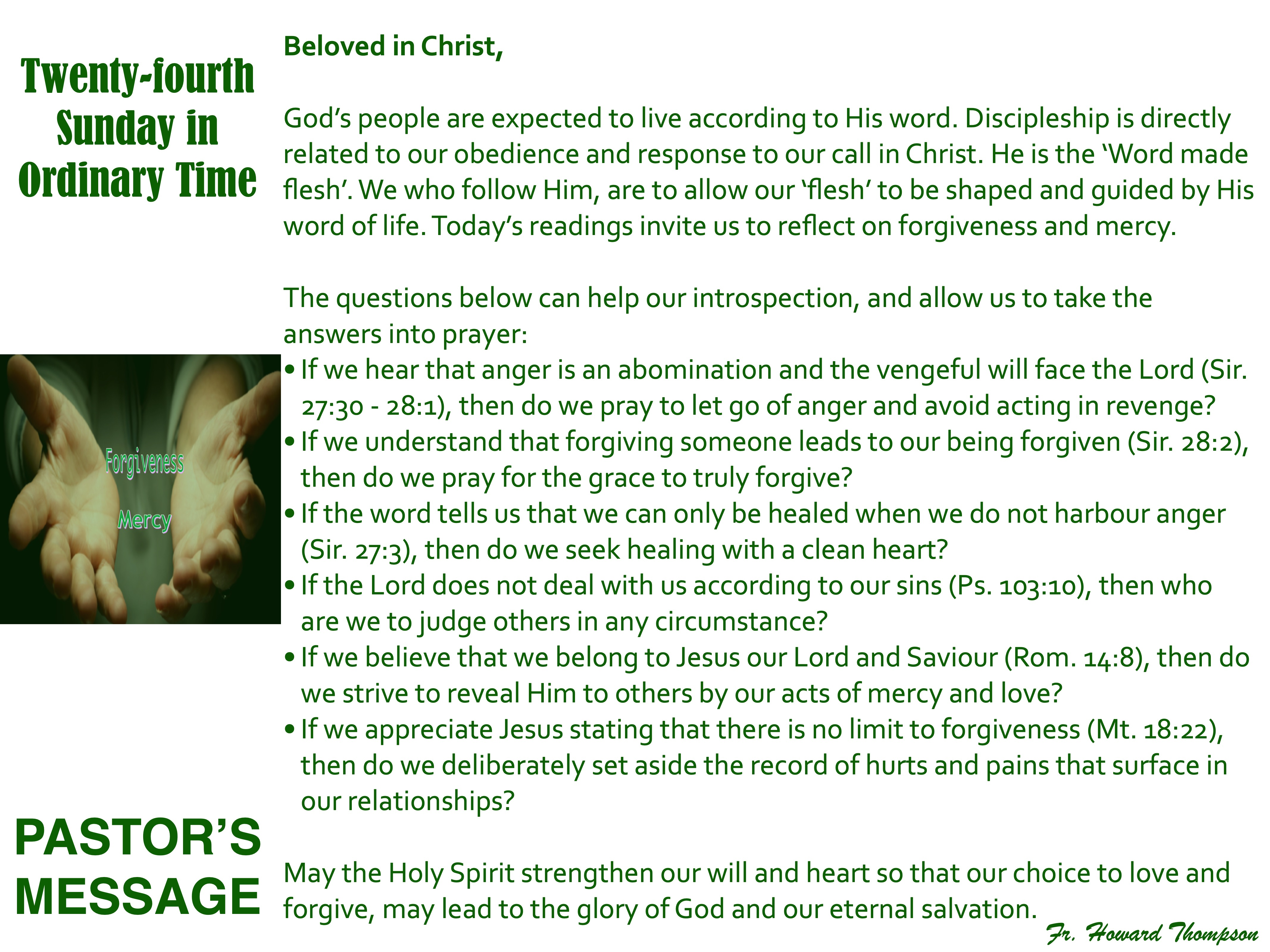 Pastor's Message - 130 Twenty-fourth Sun