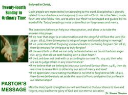 Pastor's Message - 130 Twenty-fourth Sun