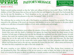 Pastor's Message - 24 Twentieth Sunday in Ordinary Time