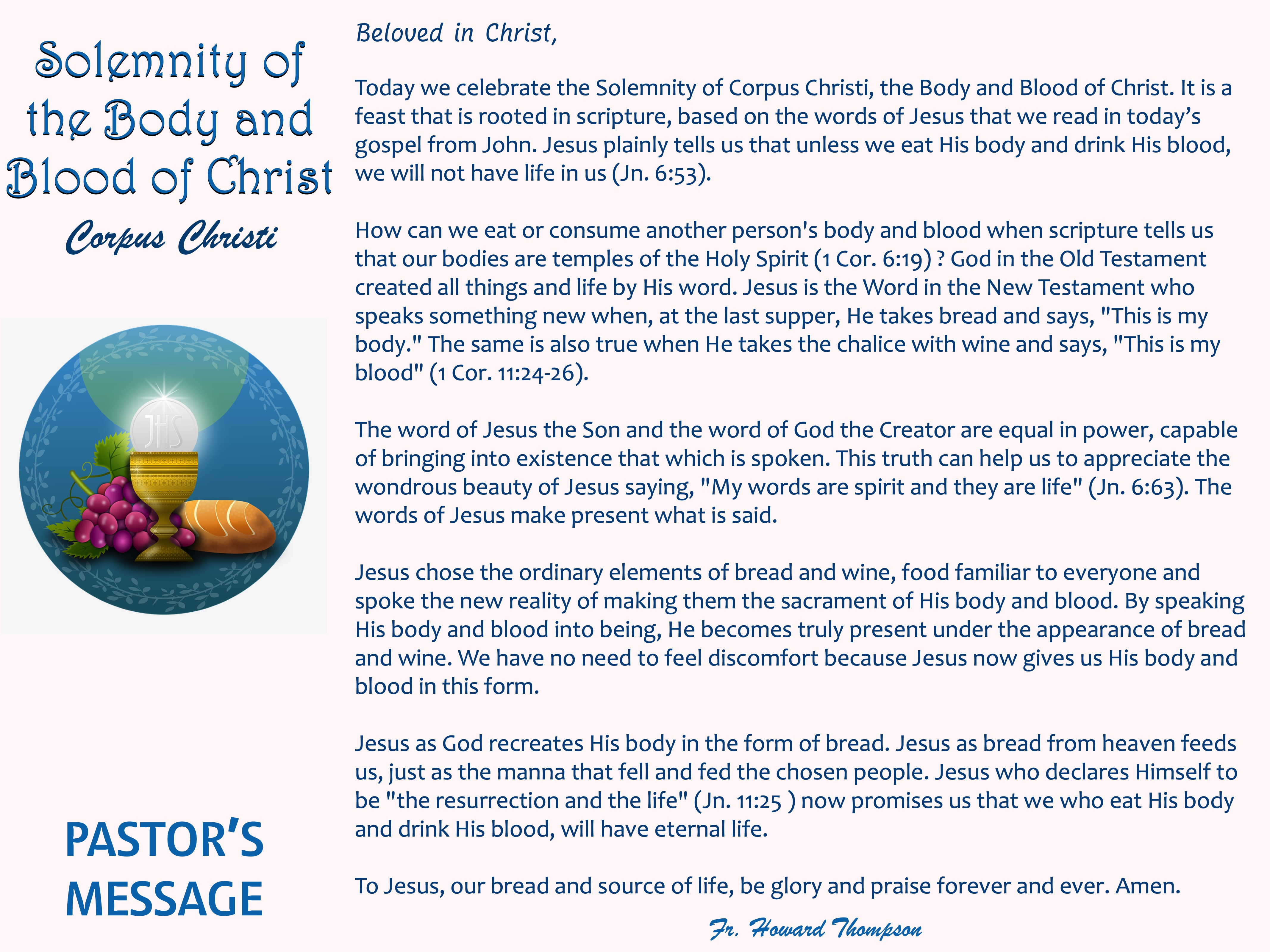Pastor's Message - 117 Solemnity of the