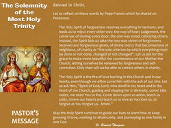Pastor's Message - 116 The Solemnity of