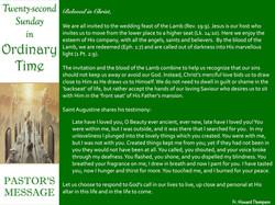 Pastor's Message - 79 Twenty-Secpnd Sund