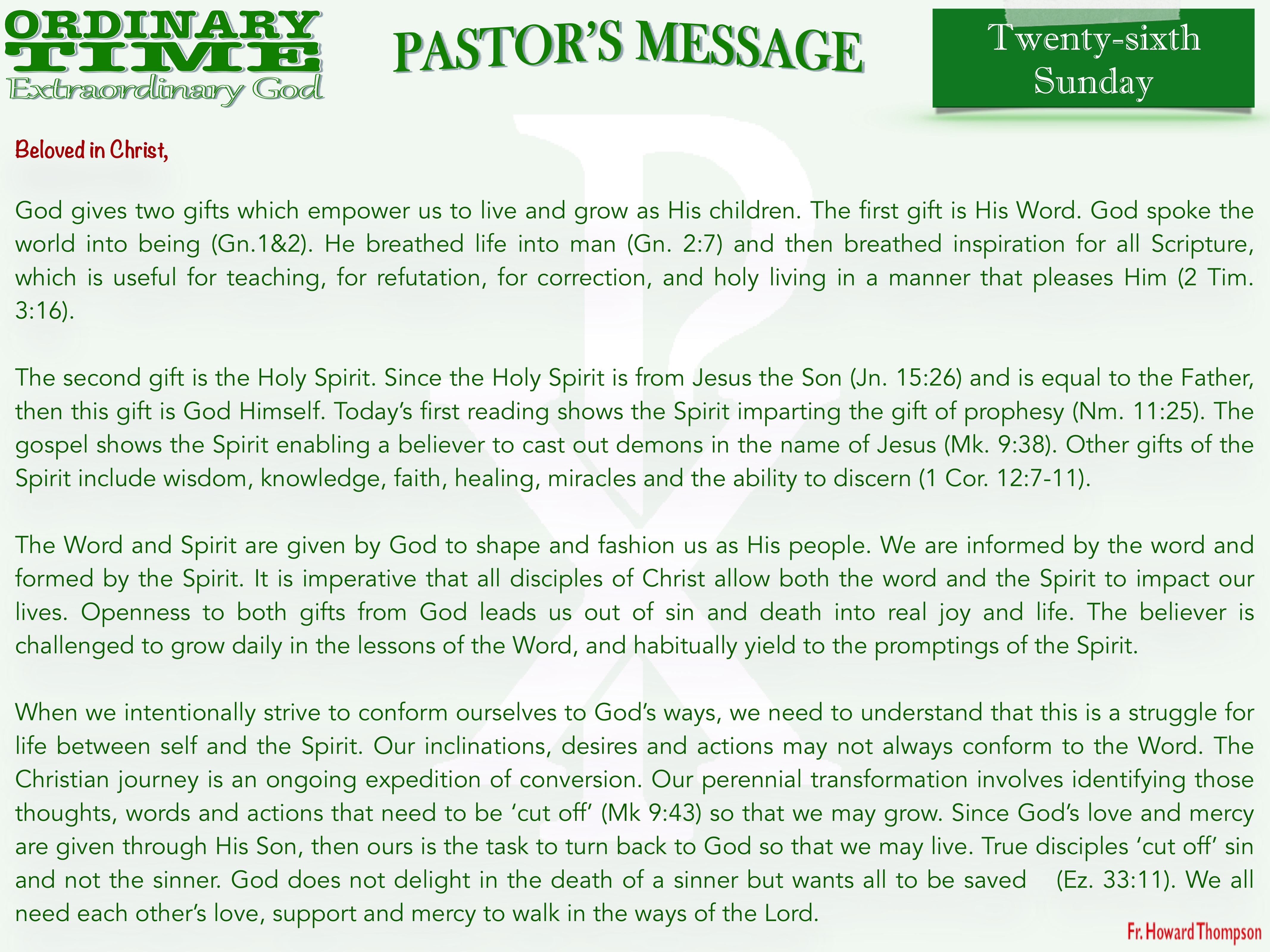 Pastor's Message - 32 Twenty-sixth Sunda