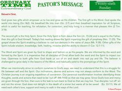 Pastor's Message - 32 Twenty-sixth Sunda