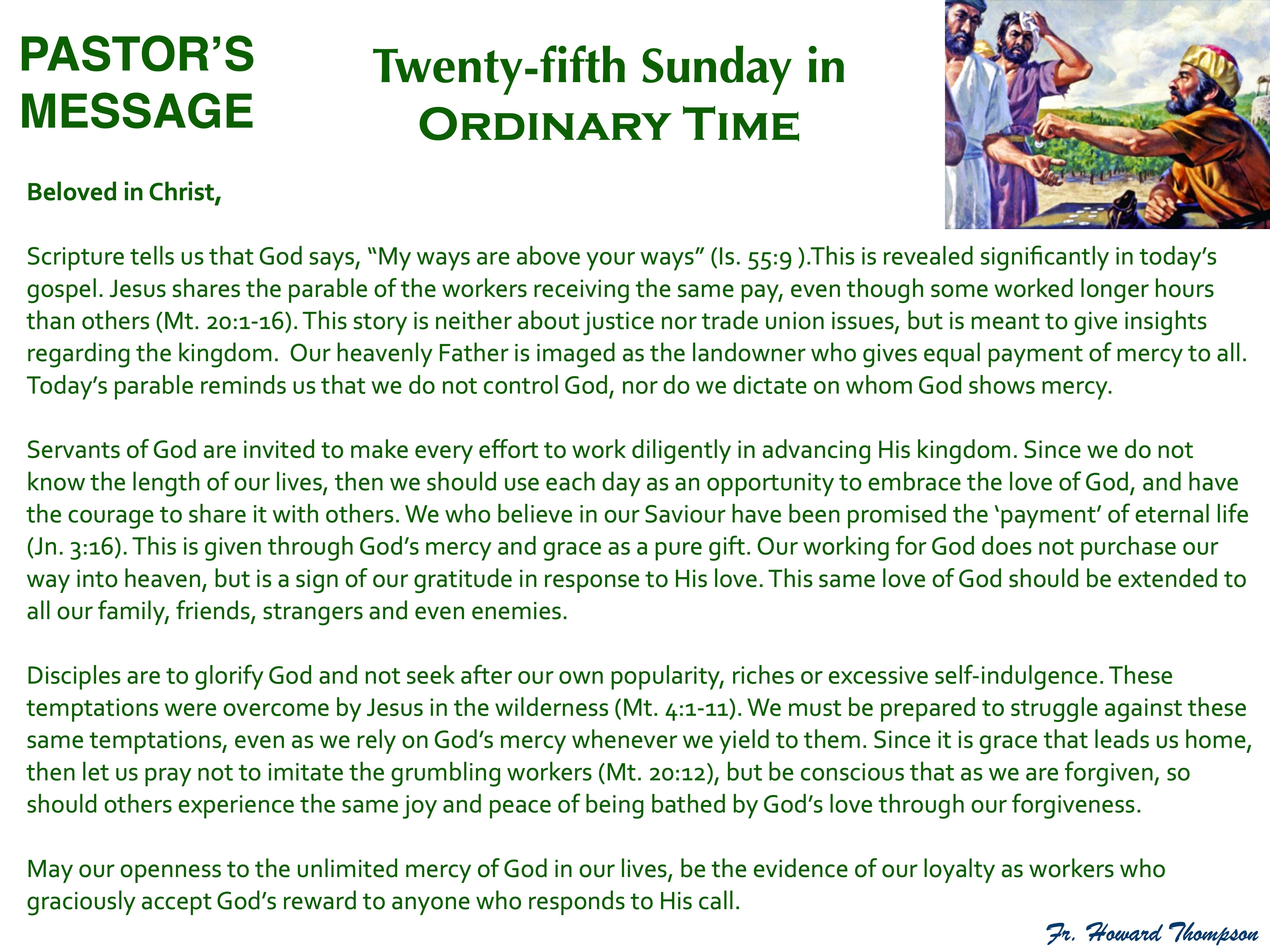 Pastor's Message - 131 Twenty-fifth Sund