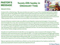 Pastor's Message - 131 Twenty-fifth Sund