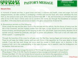 Pastor's Message - 29 Twenty-third Sunda