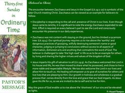 Pastor's Message - 86 Thirty-first Sunda