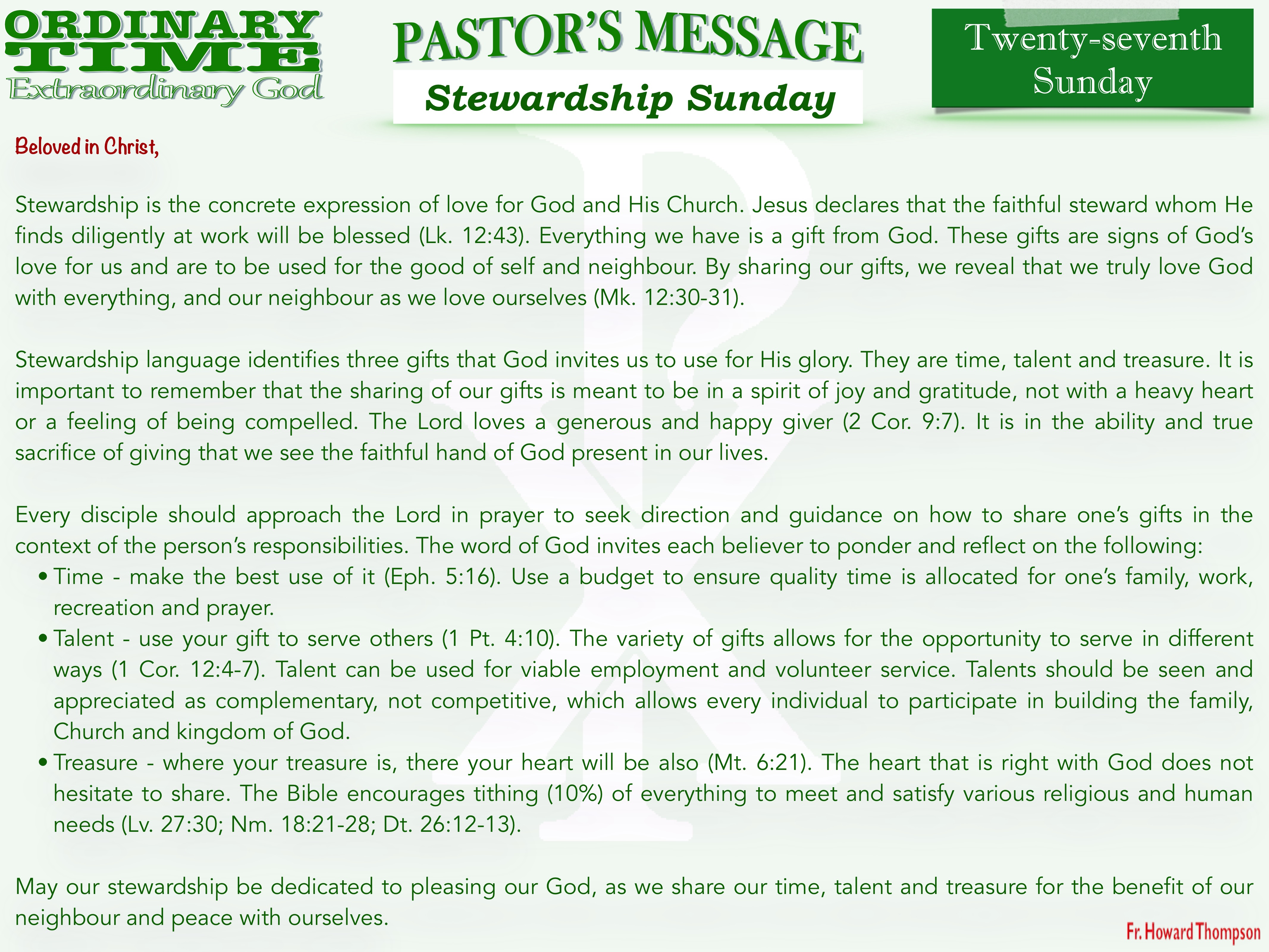 Pastor's Message - 33 Twenty-seventh Sun