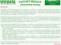 Pastor's Message - 33 Twenty-seventh Sun