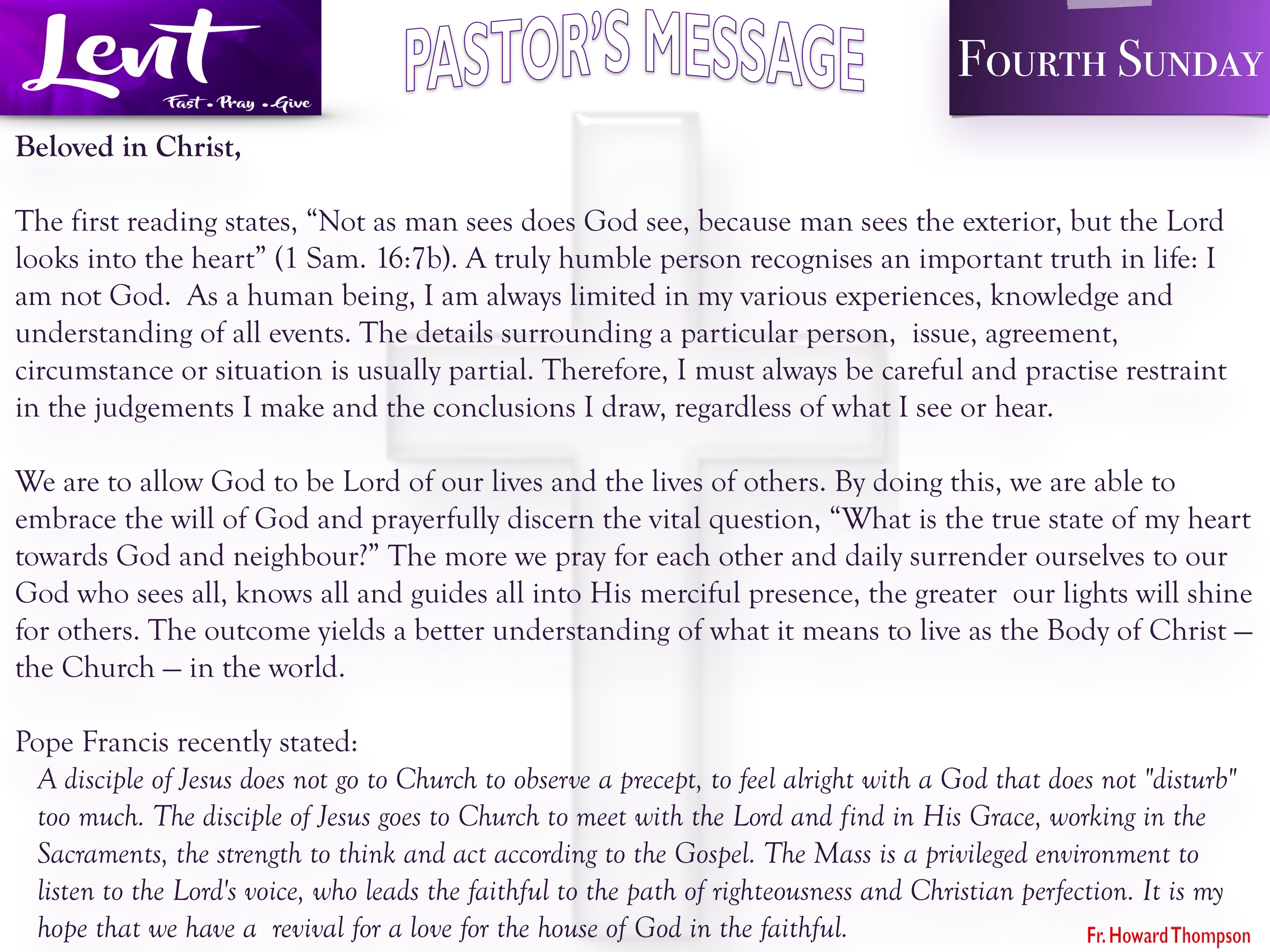 Pastor's Message - 09 Fourth Sunday of Lent_001