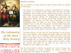Pastor's Message - 14 The Solemnity of the Most Holy Trinity