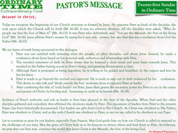 Pastor's Message - 25 Twenty-first Sunday in Ordinary Time
