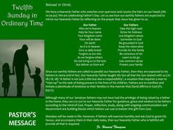 Pastor's Message - 118 Twelfth Sunday in