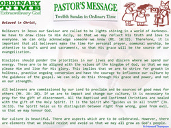 Pastor's Message - 16 Twelfth Sunday in Ordinary Time