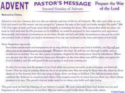 Pastor's Message - 02 Sunday of Advent