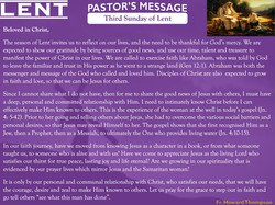 Pastor's Message - 03 Sunday of Lent
