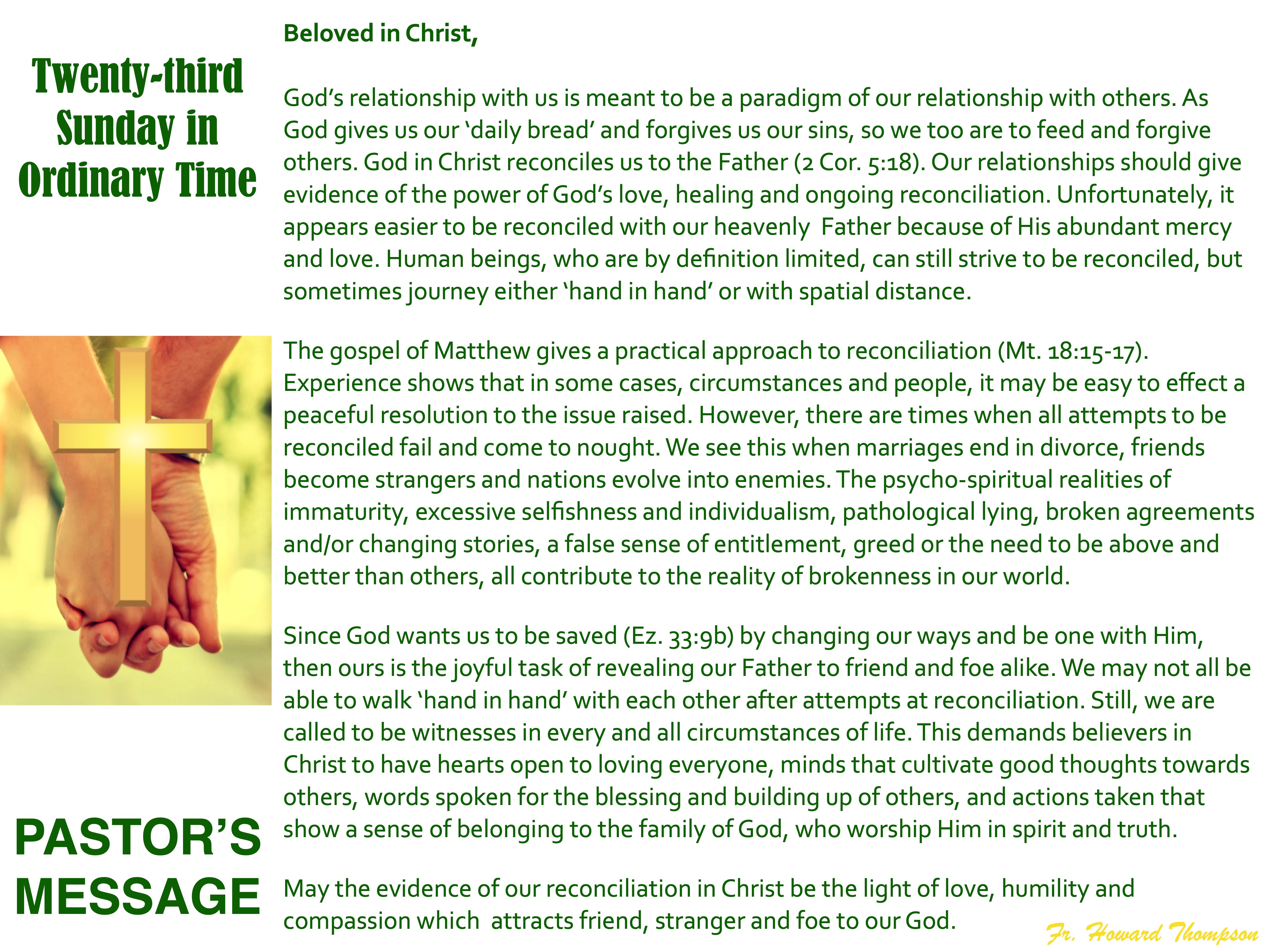 Pastor's Message - 129 Twenty-third Sund