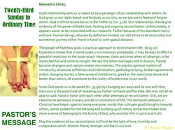 Pastor's Message - 129 Twenty-third Sund