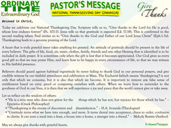 Pastor's Message - 32 NATIONAL THANKSGIVING DAY (JAMAICA)