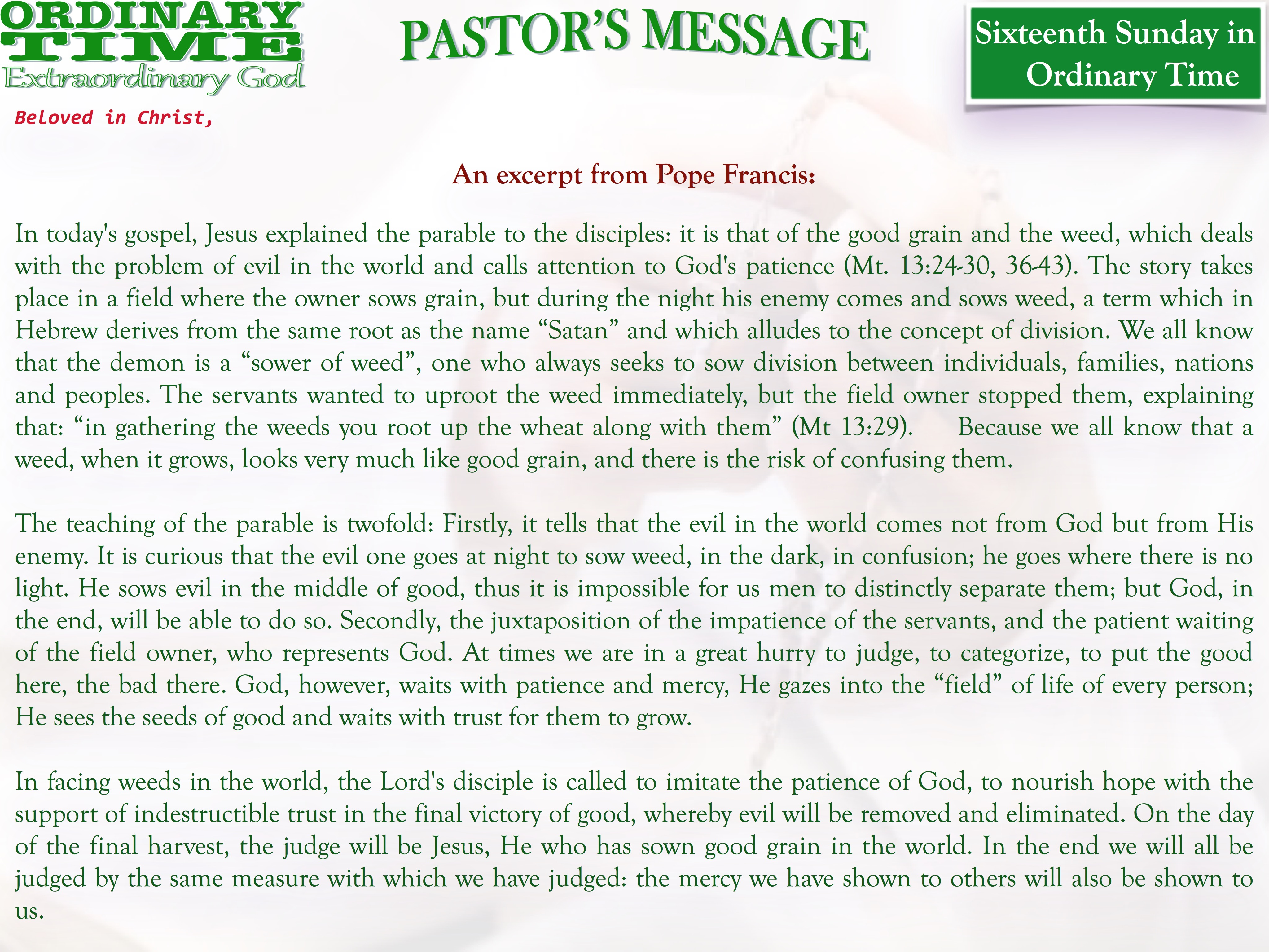 Pastor's Message - 20 Sixteenth Sunday in Ordinary Time