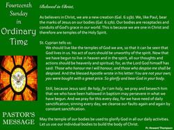 Pastor's Message - 71 Fourteenth Sunday