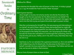 Pastor's Message - 74 Seventeenth Sunday