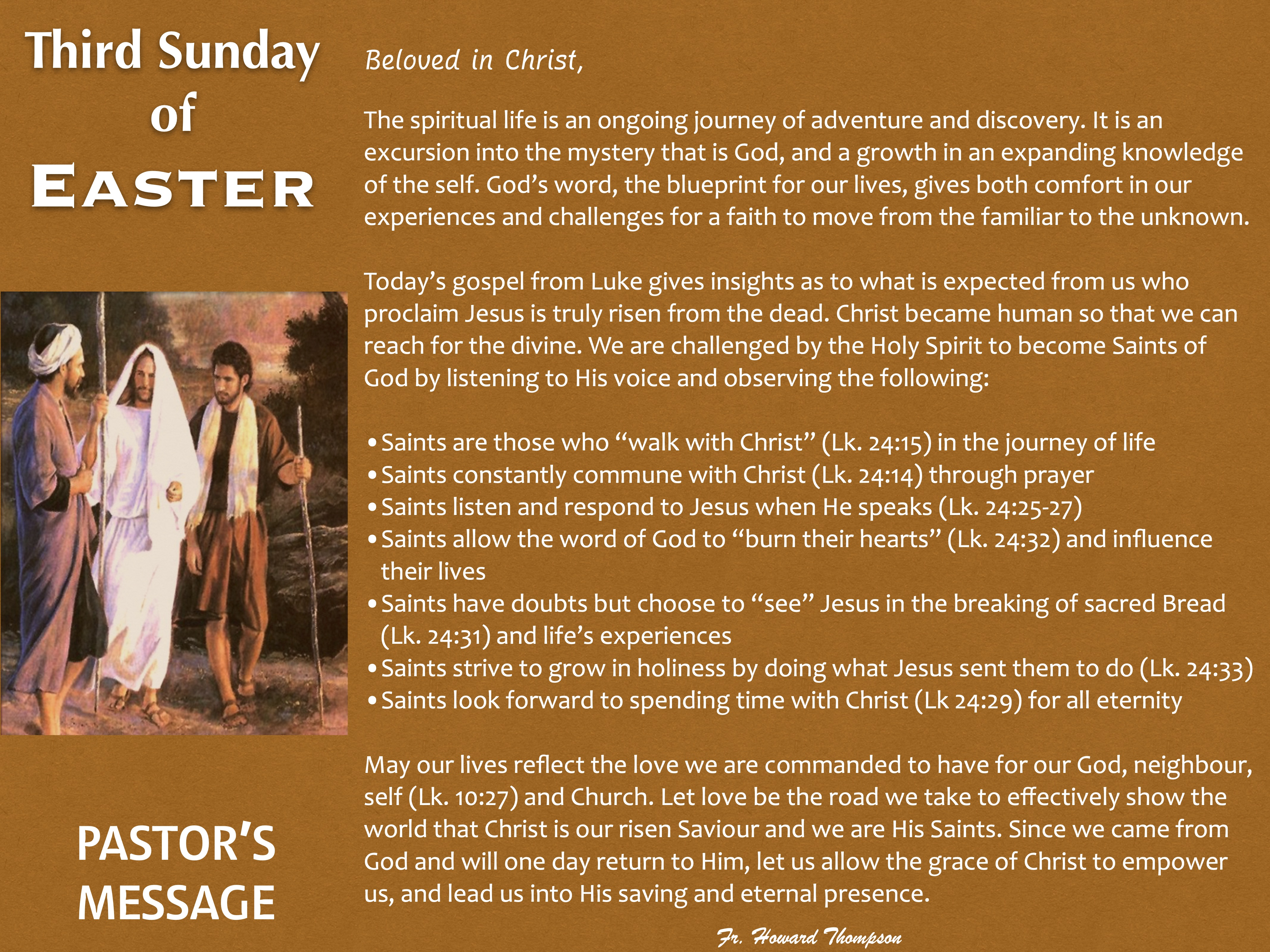 Pastor's Message - 110 Third Sunday of E