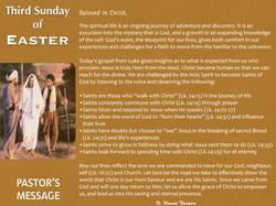 Pastor's Message - 110 Third Sunday of E