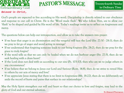 Pastor's Message - 28 Twenty-fourth Sunday in Ordinary Time