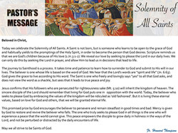 Pastor's Message - 137 Solemnity of All
