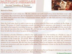 Pastor's Message - 08 Divine Mercy Sunday