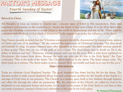 Pastor's Message - 10 Fourth Sunday of Easter