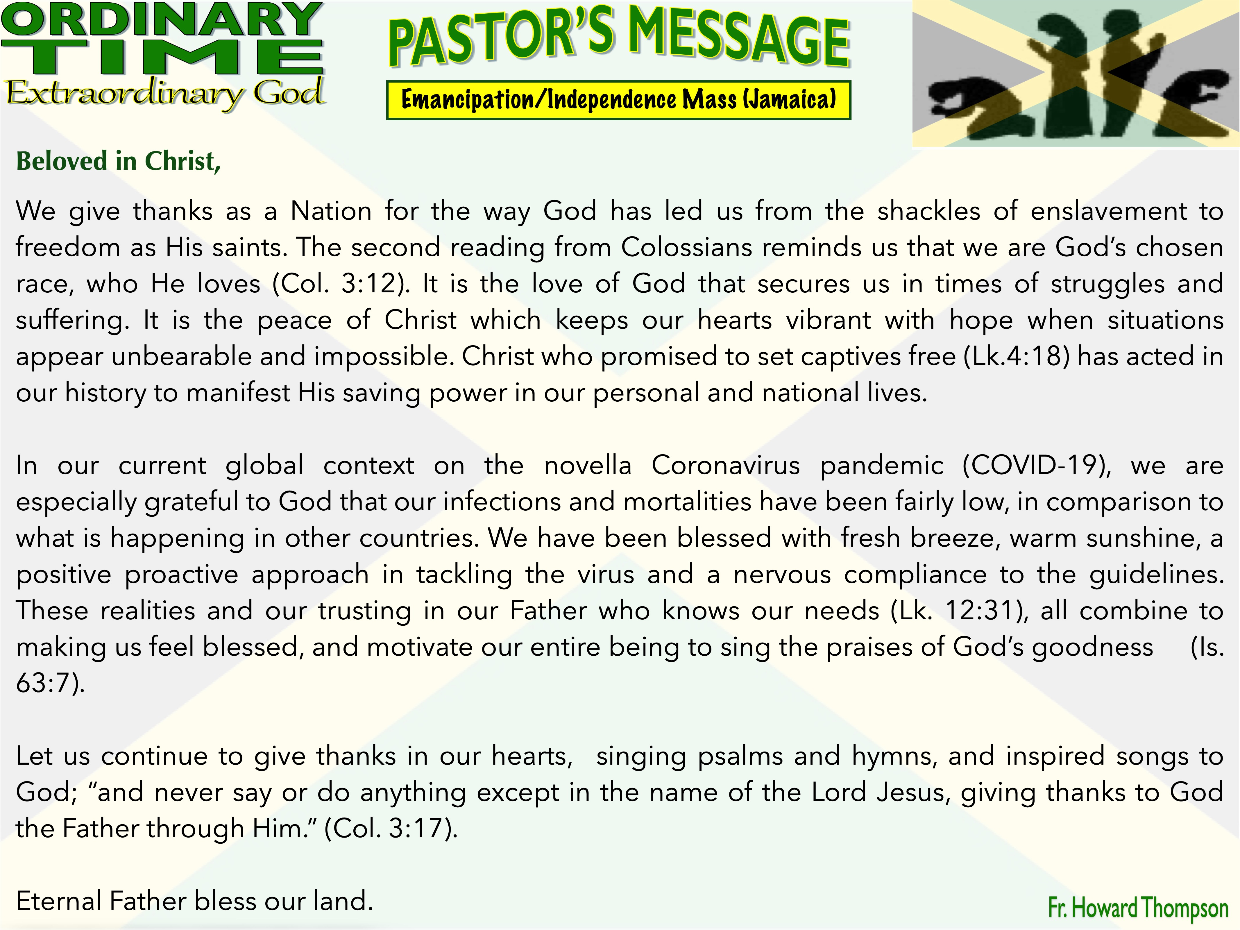 Pastor's Message - 124 Emancipation_Inde