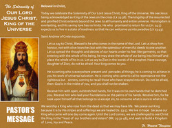 Pastor's Message - 140 The Solemnity of