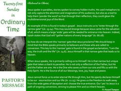 Pastor's Message - 78 Twenty-First Sunda